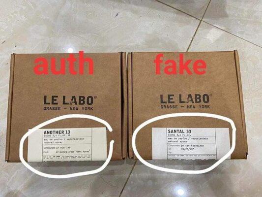 Giấy in nhãn trên hộp Le Labo thật (trái) có màu ngả vàng so với hàng fake (phải)