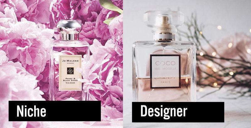 minh họa nước hoa niche Jo Malone Peony & Blush Suede Cologne và nước hoa designer Chanel Mademoiselle